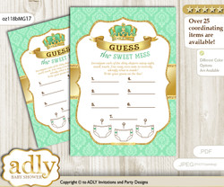 King Prince Dirty Diaper Game or Guess Sweet Mess Game for a Baby Shower Mint gold, Crown
