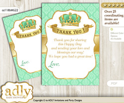 King  Prince Thank you Cards for a Baby King Shower or Birthday DIY Mint gold, Crown
