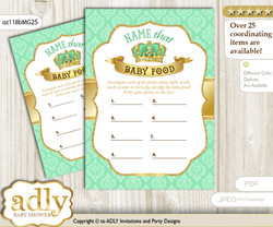 King Prince Guess Baby Food Game or Name That Baby Food Game for a Baby Shower, Mint gold Crown
