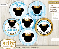 Baby Shower Prince Mickey Cupcake Toppers Printable File for Little Prince and Mommy-to-be, favor tags, circle toppers, Royal, blue gold