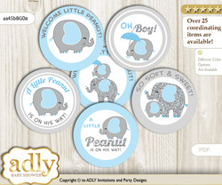 Baby Shower Peanut Elephant Cupcake Toppers Printable File for Little Peanut and Mommy-to-be, favor tags, circle toppers, Boy, Blue Grey