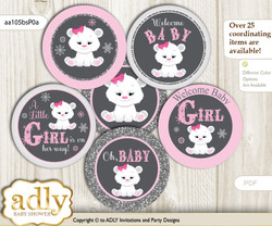 Baby Shower Girl Polar Bear Cupcake Toppers Printable File for Little Girl and Mommy-to-be, favor tags, circle toppers, Snowflake, pink grey