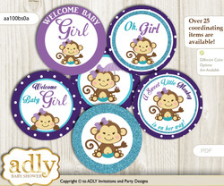 Baby Shower Girl Monkey Cupcake Toppers Printable File for Little Girl and Mommy-to-be, favor tags, circle toppers, Polka, Purple Teal