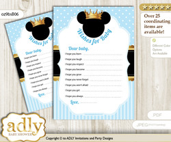 Prince Mickey Wishes for a Baby, Well Wishes for a Little Mickey Printable Card, Royal, blue gold