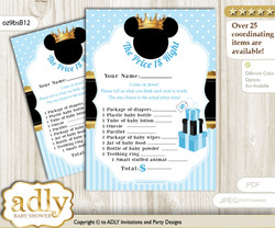 Printable Prince Mickey Price is Right Game Card for Baby Mickey Shower, blue gold, Royal