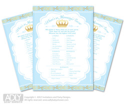 Blue Gold Prince What is in Mommy's Purse, Baby Shower Purse Game Printable Card ,  Crown,  Royal