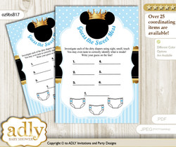 Prince Mickey Dirty Diaper Game or Guess Sweet Mess Game for a Baby Shower blue gold, Royal