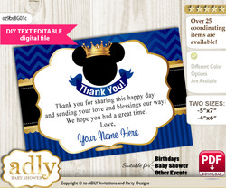 Prince Mickey Thank you Printable Card with Name Personalization for Baby Shower or Birthday Party n