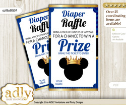 Prince Mickey Diaper Raffle Printable Tickets for Baby Shower, Blue Gold, Royal n