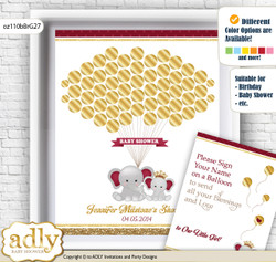 Princess Elephant Guest Book Alternative for a Baby Shower, Creative Nursery Wall Art Gift, Gold Burgundy, Peanut