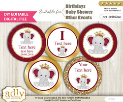 DIY Text Editable Princess Elephant Cupcake Toppers Digital File, print at home, suitable for birthday, baby shower, baptism