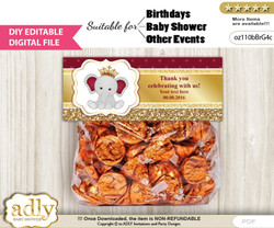 DIY Text Editable Princess Elephant Goodie  Treat Bag Toppers, Favor Bag Digital File, print at home