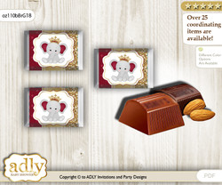 Princess Elephant Chocolate Nuggets Candy Wrapper Label for Baby Princess Shower  Gold Burgundy , Peanut