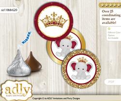 Printable  Princess Elephant Candy Kisses for Baby Princess Shower DIY Gold Burgundy , Peanut