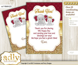 Princess  Elephant Thank you Cards for a Baby Princess Shower or Birthday DIY Gold Burgundy, Peanut