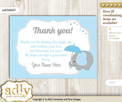 Peanut Elephant Thank you Printable Card with Name Personalization for Baby Shower or Birthday Party  n