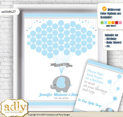 Peanut Elephant Guest Book Alternative for a Baby Shower, Creative Nursery Wall Art Gift, Blue Grey, Boy