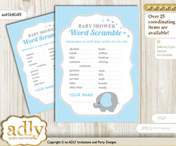 Peanut Elephant Word Scramble Game for Baby Shower nnn