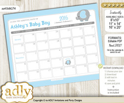 DIY Peanut Elephant Baby Due Date Calendar, guess baby arrival date game  n