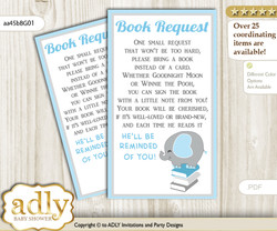 Request a Book Instead of a Card for Peanut Elephant Baby Shower or Birthday, Printable Book DIY Tickets, Boy, Blue Grey m