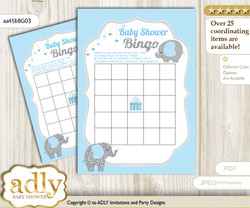 Printable Blue Grey Elephant Bingo Game Printable Card for Baby Peanut Shower DIY grey, Blue Grey, Boy