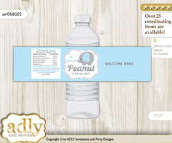 Peanut Elephant Water Bottle Wrappers, Labels for a Elephant  Baby Shower, Blue Grey, Boy