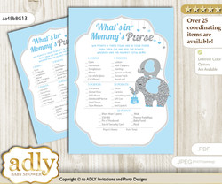 Peanut Elephant What is in Mommy's Purse, Baby Shower Purse Game Printable Card , Blue Grey,  Boy