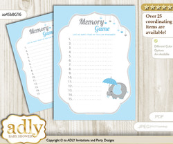 Peanut Elephant Memory Game Card for Baby Shower, Printable Guess Card, Blue Grey, Boy