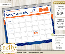 DIY Boy Bow Tie Baby Due Date Calendar, guess baby arrival date game v