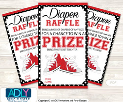 Girl SneakersDiaper Raffle Printable Tickets for Baby Shower,  red black,  Sport