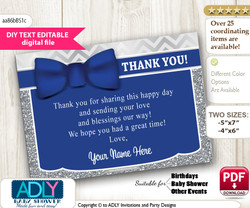 Boy Bow tie Thank you Printable Card with Name Personalization for Baby Shower or Birthday Party vv