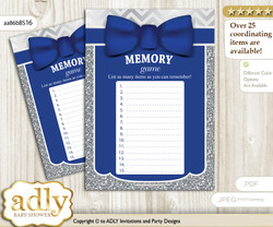Boy Bow tie Memory Game Card for Baby Shower, Printable Guess Card, Blue Grey, Silver