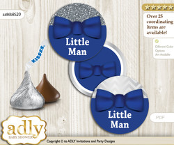 Printable  Boy Bow tie Candy Kisses for Baby Boy Shower DIY Blue Grey , Silver