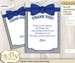 Boy  Bow tie Thank you Cards for a Baby Boy Shower or Birthday DIY Blue Grey, Silver