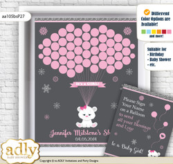 Girl Polar Bear Guest Book Alternative for a Baby Shower, Creative Nursery Wall Art Gift, pink grey, Snowflake