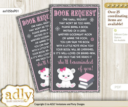 Request a Book Instead of a Card for Girl Polar Bear Baby Shower or Birthday, Printable Book DIY Tickets, Snowflake, pink grey