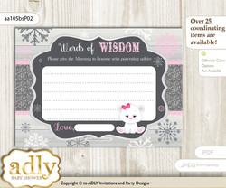 pink grey Girl Polar Bear Words of Wisdom or an Advice Printable Card for Baby Shower, Snowflake