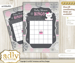 Printable pink grey Polar Bear Bingo Game Printable Card for Baby Girl Shower DIY grey, pink grey, Snowflake