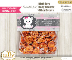 DIY Text Editable Girl Polar Bear Goodie  Treat Bag Toppers, Favor Bag Digital File, print at home