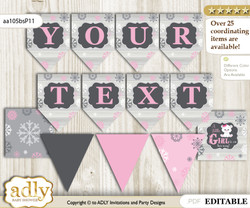 DIY Personalizable Girl Polar Bear Printable Banner for Baby Shower, pink grey, Snowflake