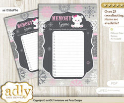 Girl Polar Bear Memory Game Card for Baby Shower, Printable Guess Card, pink grey, Snowflake