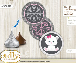 Printable  Girl Polar Bear Candy Kisses for Baby Girl Shower DIY pink grey , Snowflake