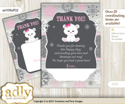 Girl  Polar Bear Thank you Cards for a Baby Girl Shower or Birthday DIY pink grey, Snowflake