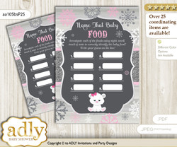 Girl Polar Bear Guess Baby Food Game or Name That Baby Food Game for a Baby Shower, pink grey Snowflake