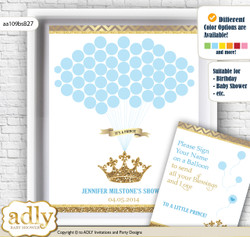 Royal Prince Guest Book Alternative for a Baby Shower, Creative Nursery Wall Art Gift, Blue Gold, Crown v