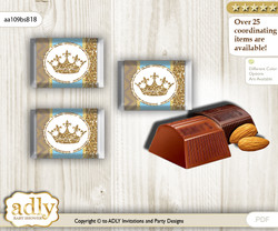 Royal Prince Chocolate Nuggets Candy Wrapper Label for Baby Royal Shower  Blue Gold , Crown v