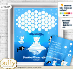 Boy Arctic Guest Book Alternative for a Baby Shower, Creative Nursery Wall Art Gift, Blue Silver, Winter