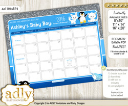 DIY Boy Arctic Baby Due Date Calendar, guess baby arrival date game