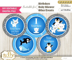 DIY Text Editable Boy Arctic Cupcake Toppers Digital File, print at home, suitable for birthday, baby shower, baptism
