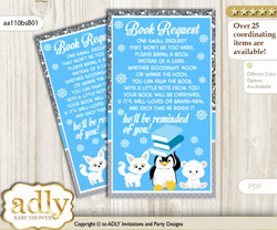 Request a Book Instead of a Card for Boy Arctic Baby Shower or Birthday, Printable Book DIY Tickets, Winter, Blue Silver